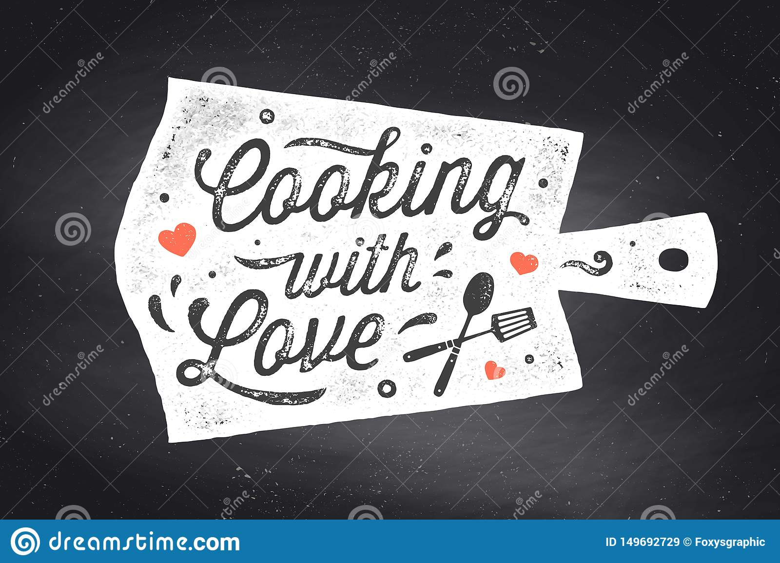 Cooking With Love Kitchen Poster Kitchen Wall Decor Sign Quote Stock Vector Illustration Of Lettering Board 149692729