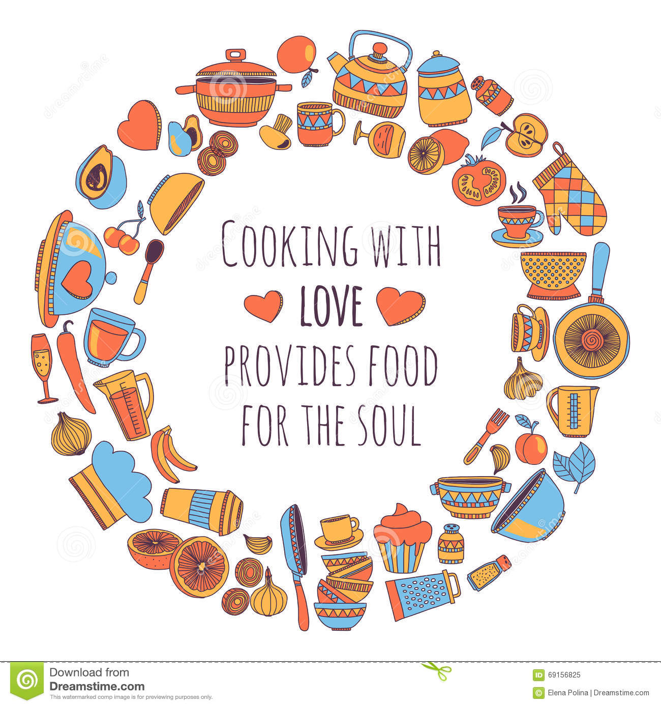 cooking with love provides food for the soul stock vector