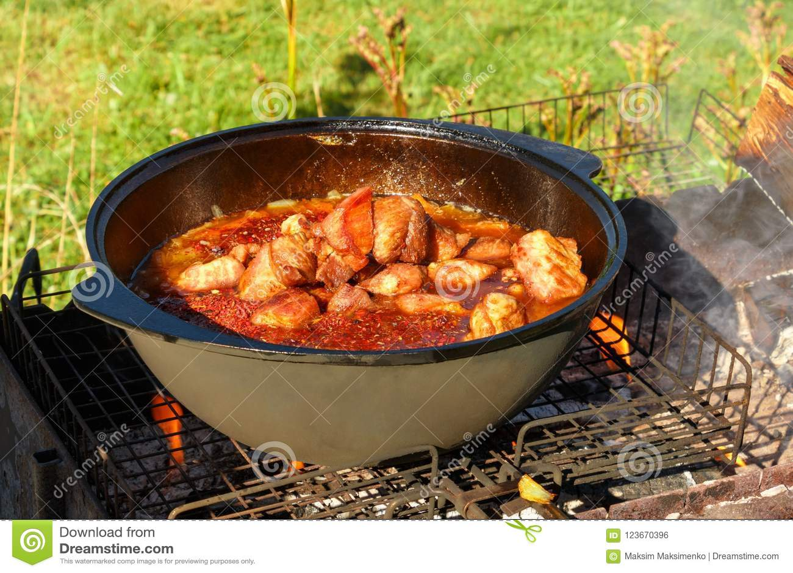 Meat with vegetables in a cauldron. Recipe. Uzbek cuisine 88