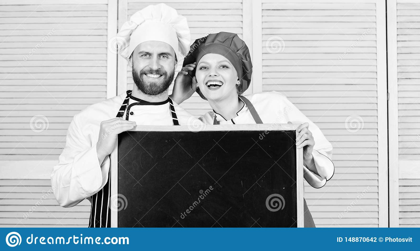 Cooking menu for today. List ingredients cooking dish. Family restaurant. Opening soon. Hiring staff. Woman and man chef