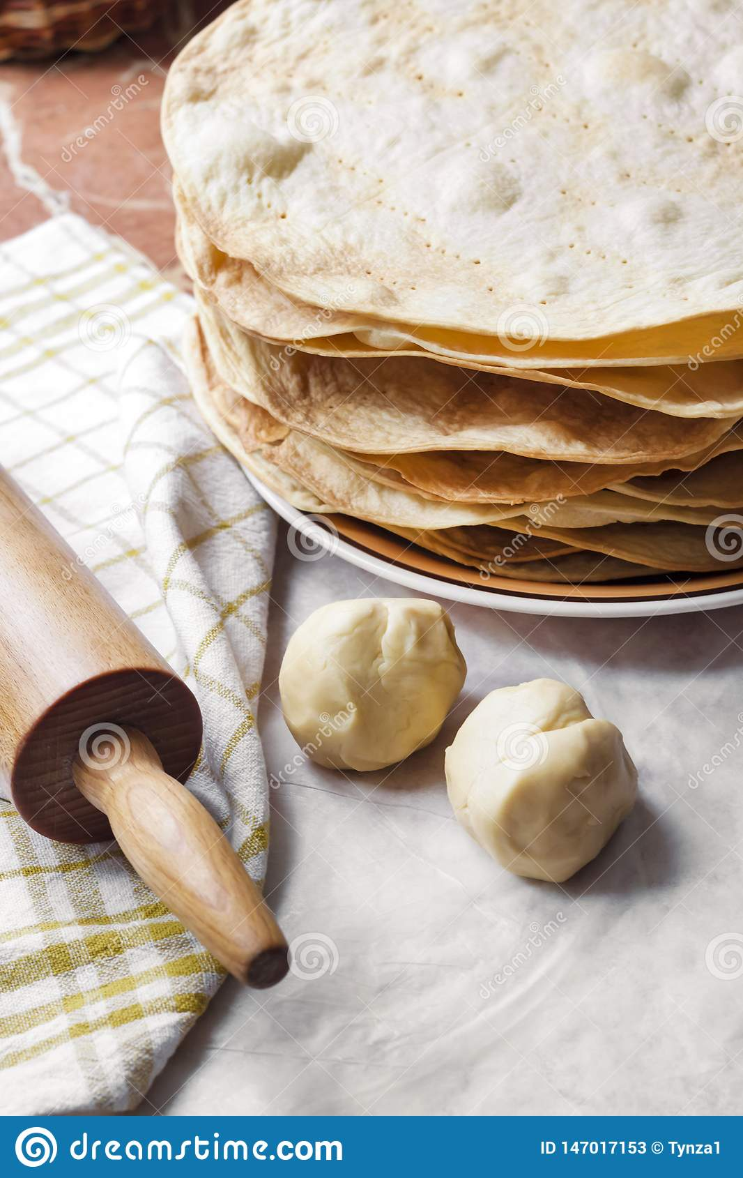 Cooking Cake Napoleon Baked Cake Layers Raw Dough And Rolling Pin Stock Image Image Of Delicious Homemade 147017153