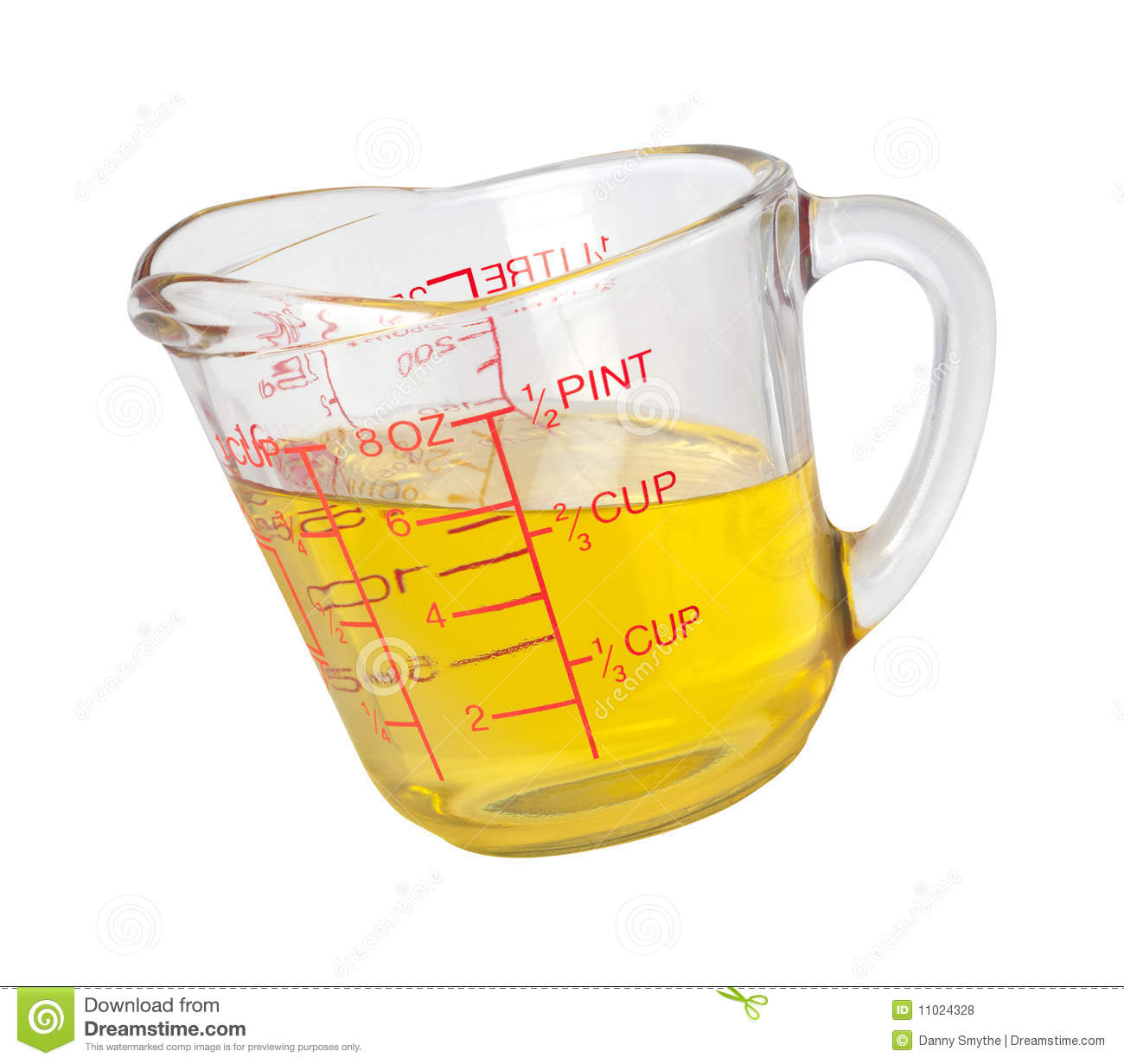 Cooking Oil In Measuring Cup With Clipping Path Stock