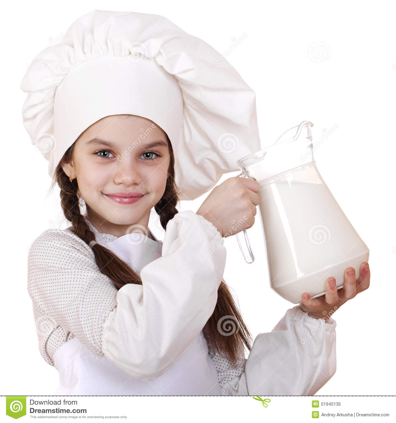 White apron girl - Cooking And People Concept Little Girl In A White Apron Holdin