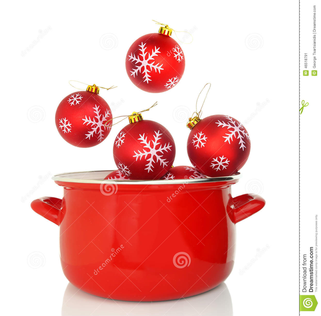 Cooking Pot With Christmas Ornaments Stock Image - Image ...