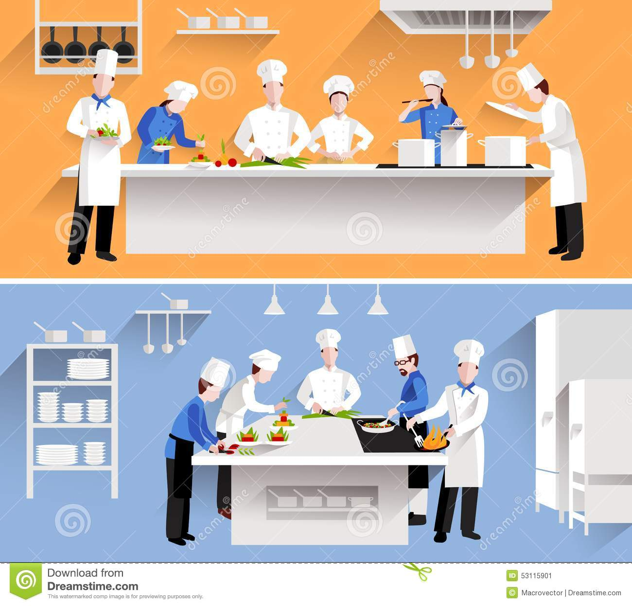 Restaurant Kitchen Illustration cooking process illustration stock vector - image: 53115901