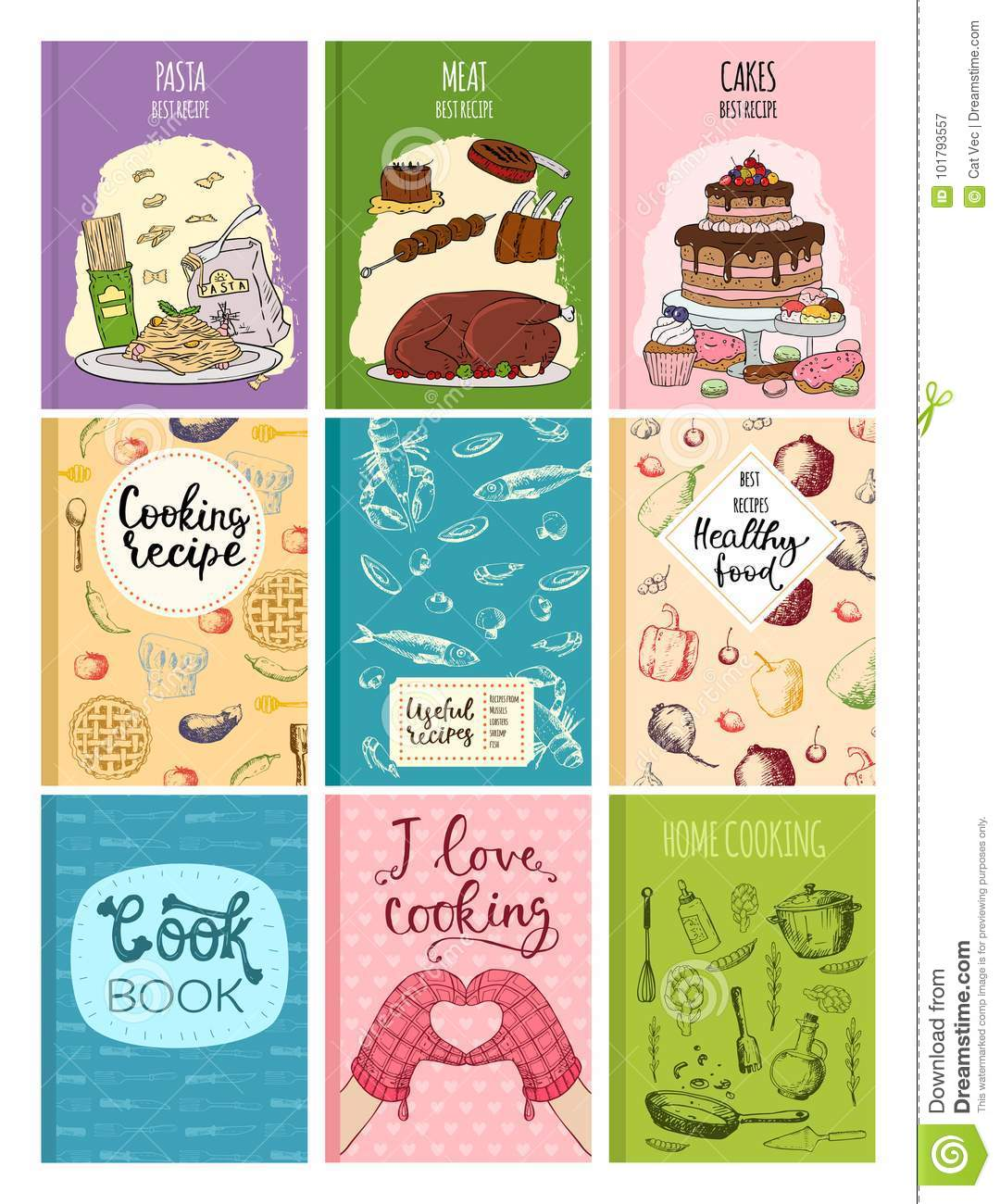 Cooking Recipe Books Cover Kitchen Design Cards Template Hand Drawn ...