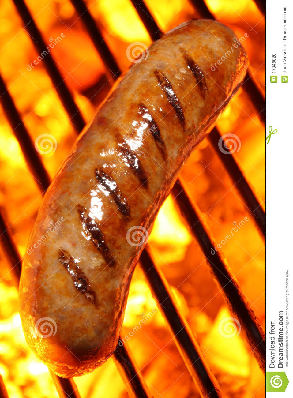 cooking a sausage hot dog on barbecue grill stock photo image of grill barbeqcue 17848020. Black Bedroom Furniture Sets. Home Design Ideas