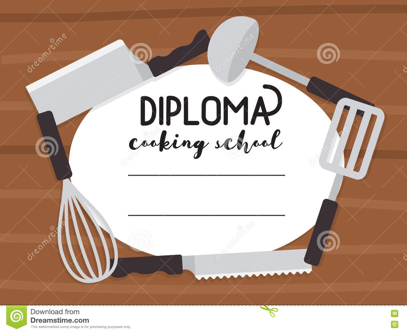 cooking school diploma stock vector illustration of