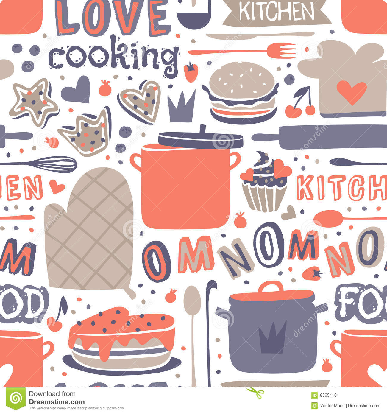 cooking seamless pattern retro style with kitchen and baking items vector cartoon vector. Black Bedroom Furniture Sets. Home Design Ideas
