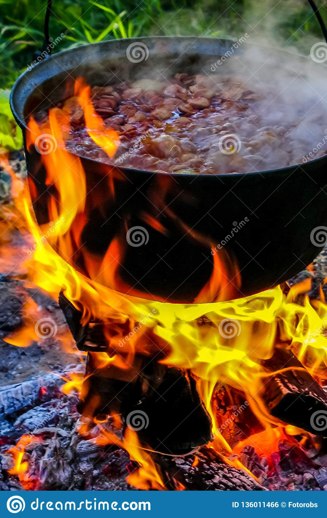 Cooking Soup In A Pot On Campfire Stock Photo Image Of Flame Caldron 136011466