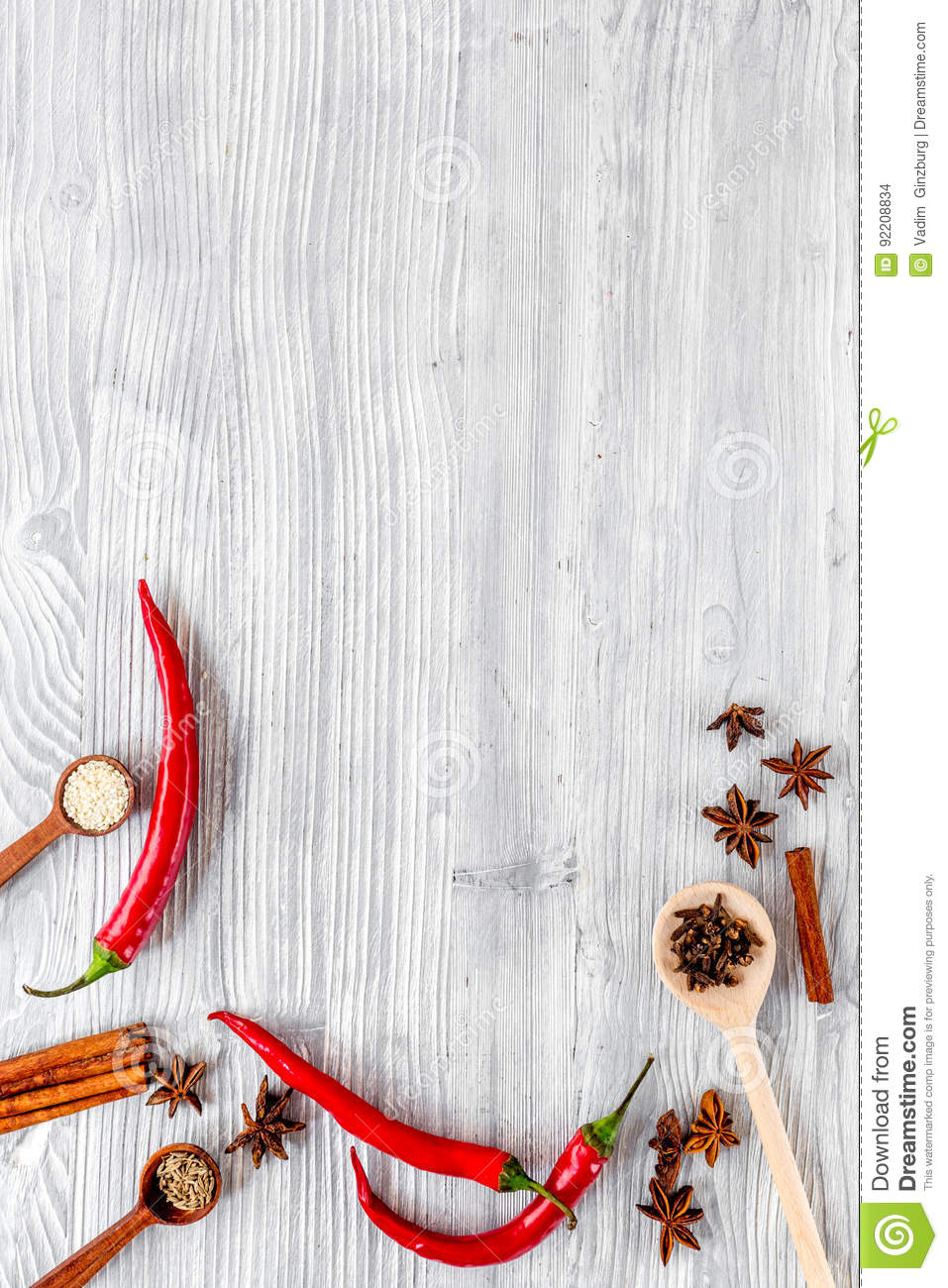 Kitchen Table Background cooking with spices, vanilla, cinnamon on kitchen table background