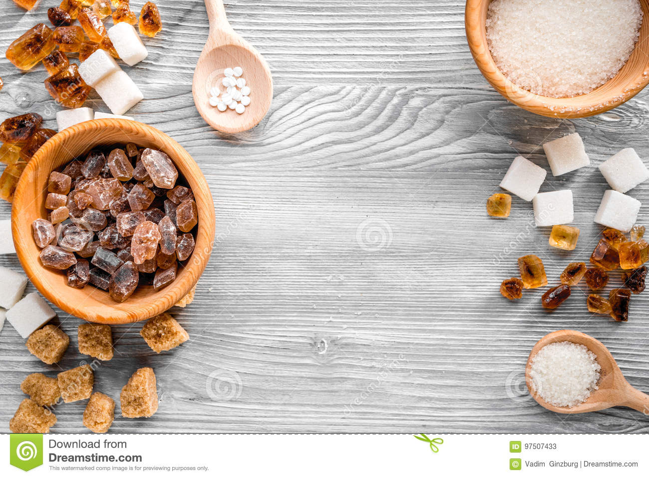 Cooking sweets set with sugar in bowls on kitchen table background top view mock-up