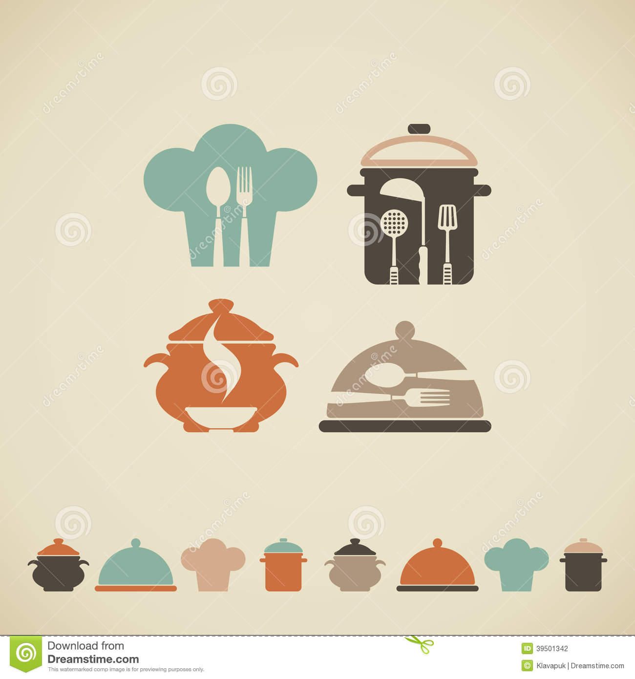 Cooking symbols stock illustration image 39501342 for Art cuisine evolution 10 piece cooking set