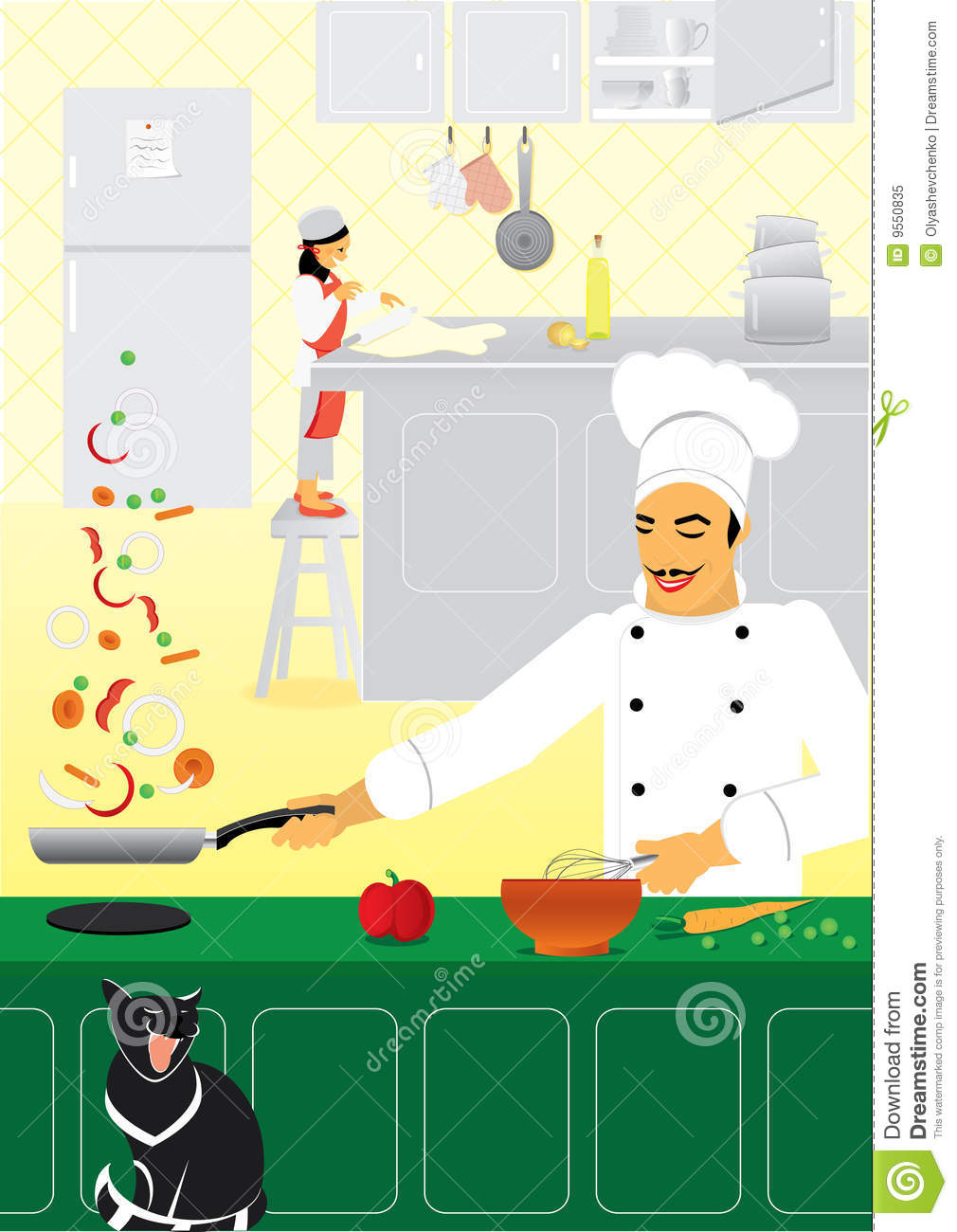 Cooking team stock vector. Illustration of chef, cook - 9550835