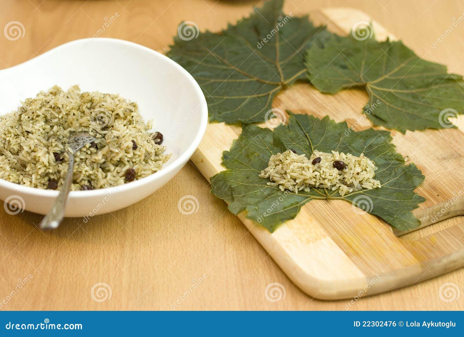 Cooking Turkish Food Stuffed Grape Leaves Royalty Free ...