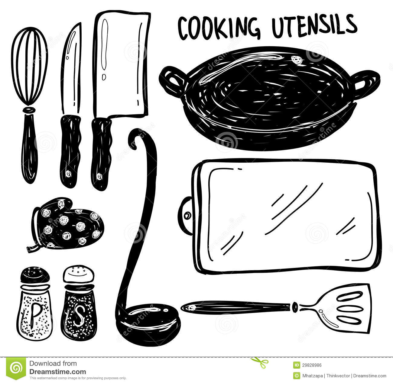 Kitchen Tools Drawings Cooking Utensil Doodle Royalty Free Stock Image  Image 29828986