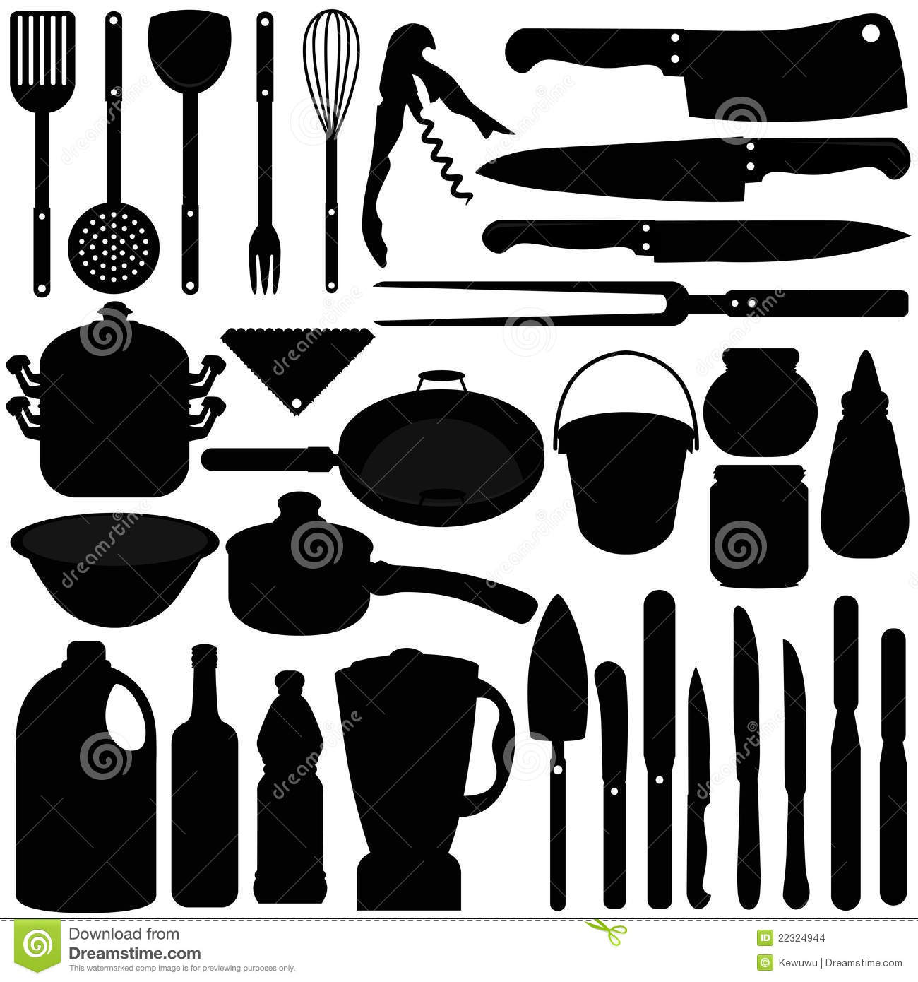 Cooking Utensil, Knives, Baking Equipments Stock Images - Image