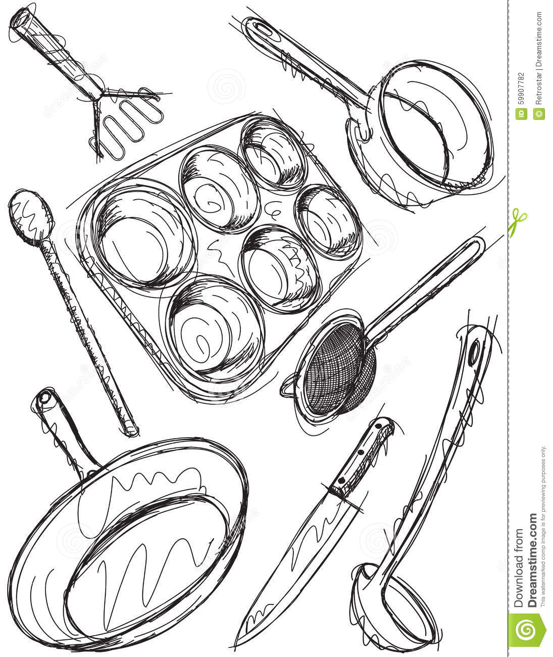 The Kitchen Sink Art Drawing Sketch Sketchbook By: Cooking Utensil Sketches Stock Vector. Illustration Of