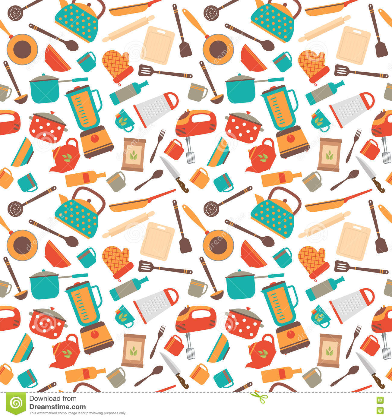 cooking utensils background cute seamless pattern with