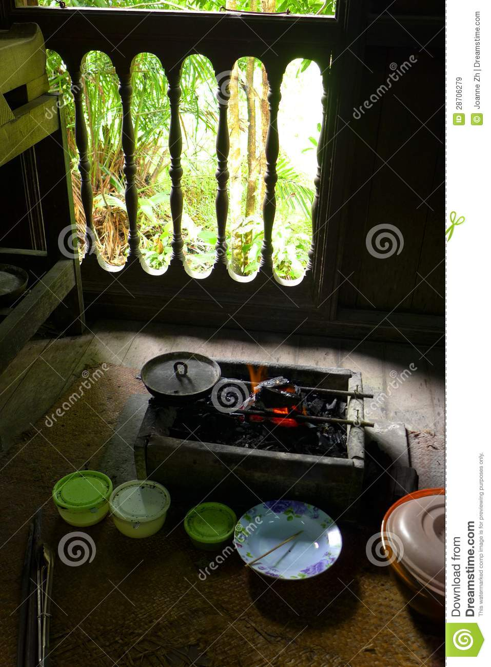 Cooking Utensils In Ethnic Malay Kitchen Stock Image