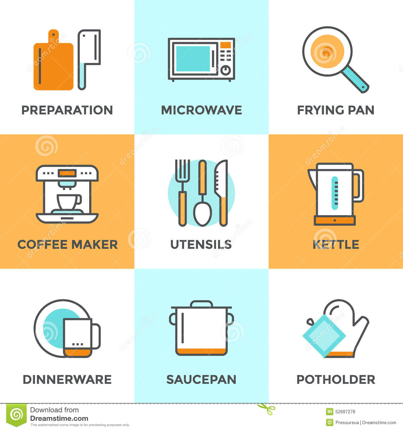 Cooking Utensils Line Icons Set Stock Vector - Illustration of icon ...