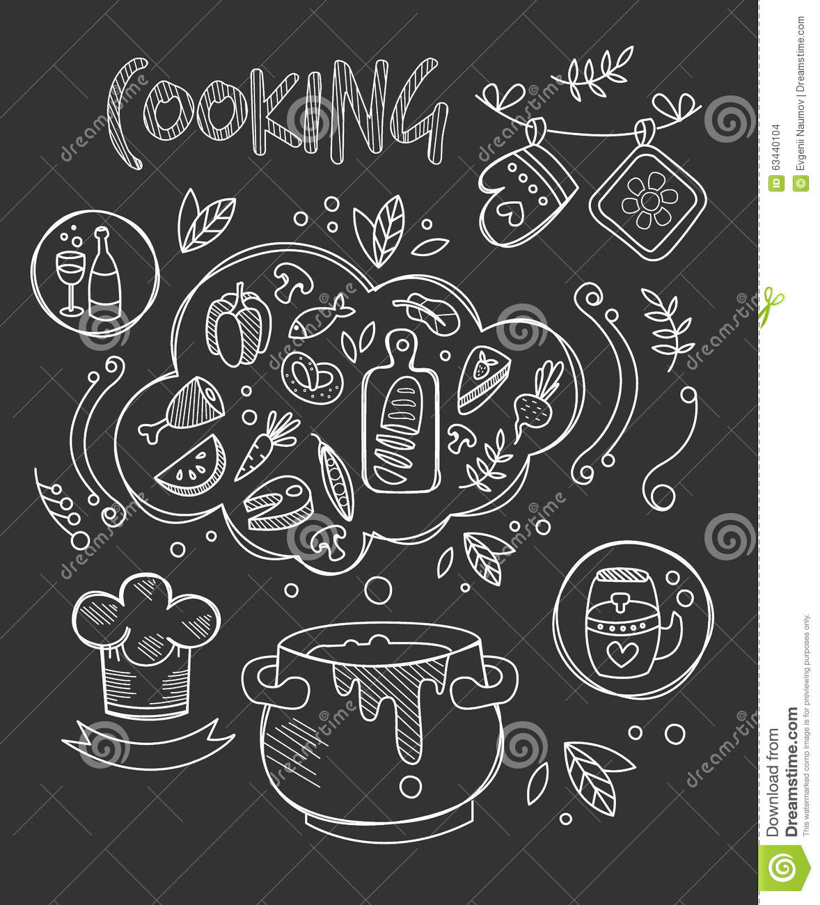 Cooking vector illustration chalkboard drawing stock for Kitchen set drawing