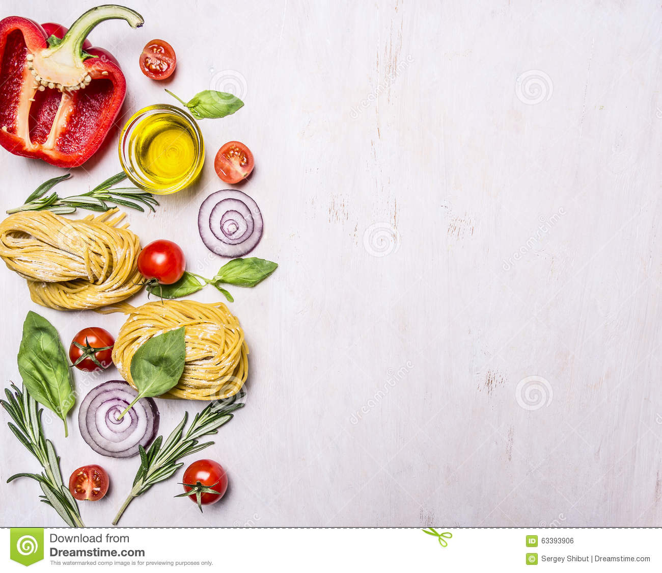 Cooking And Vegetarian Concept Raw Pasta With Vegetables