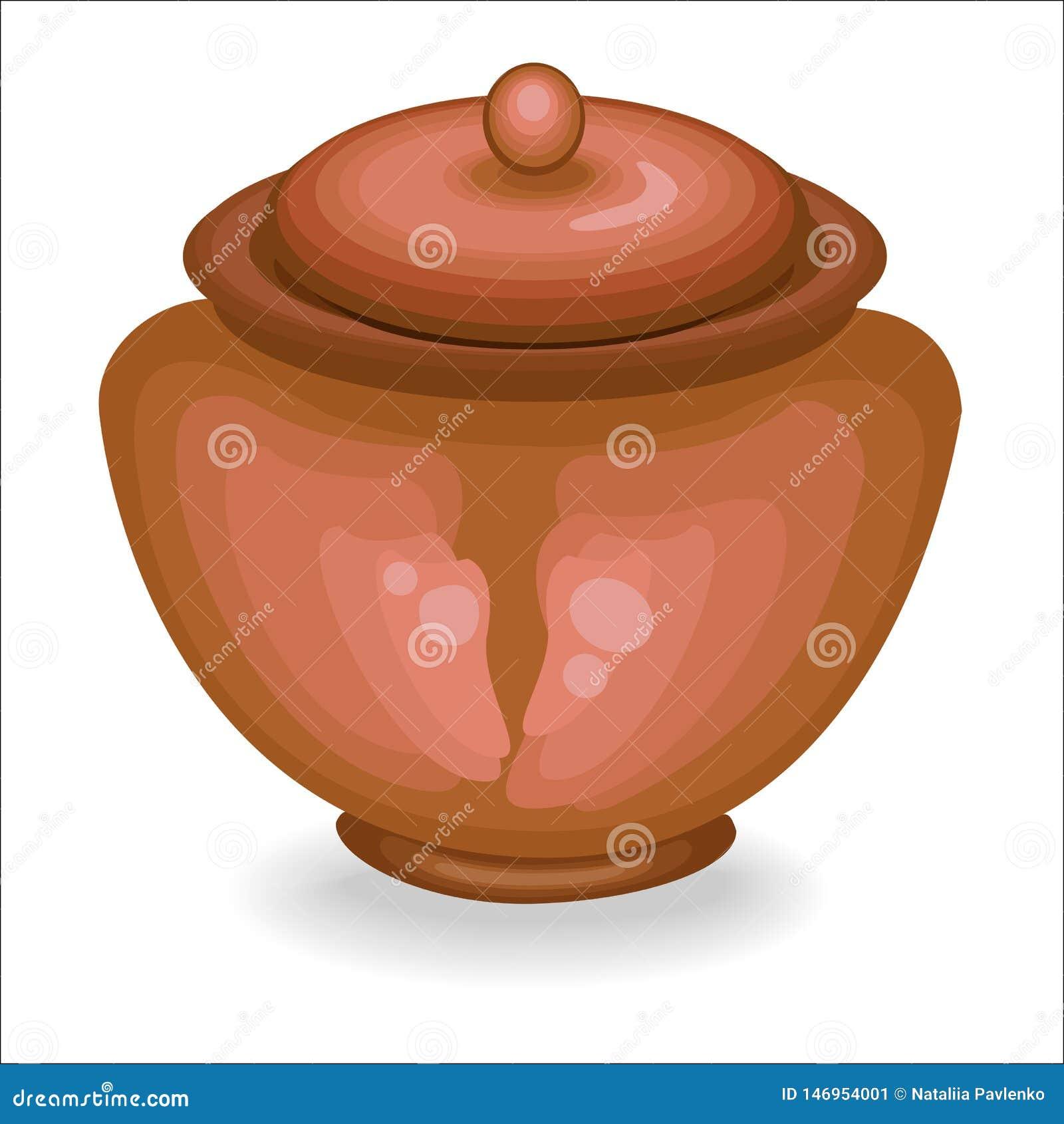 Cookware El pote de arcilla es necesario para el hogar en la cocina En ?l preparan la comida La cer?mica es necesaria para una di