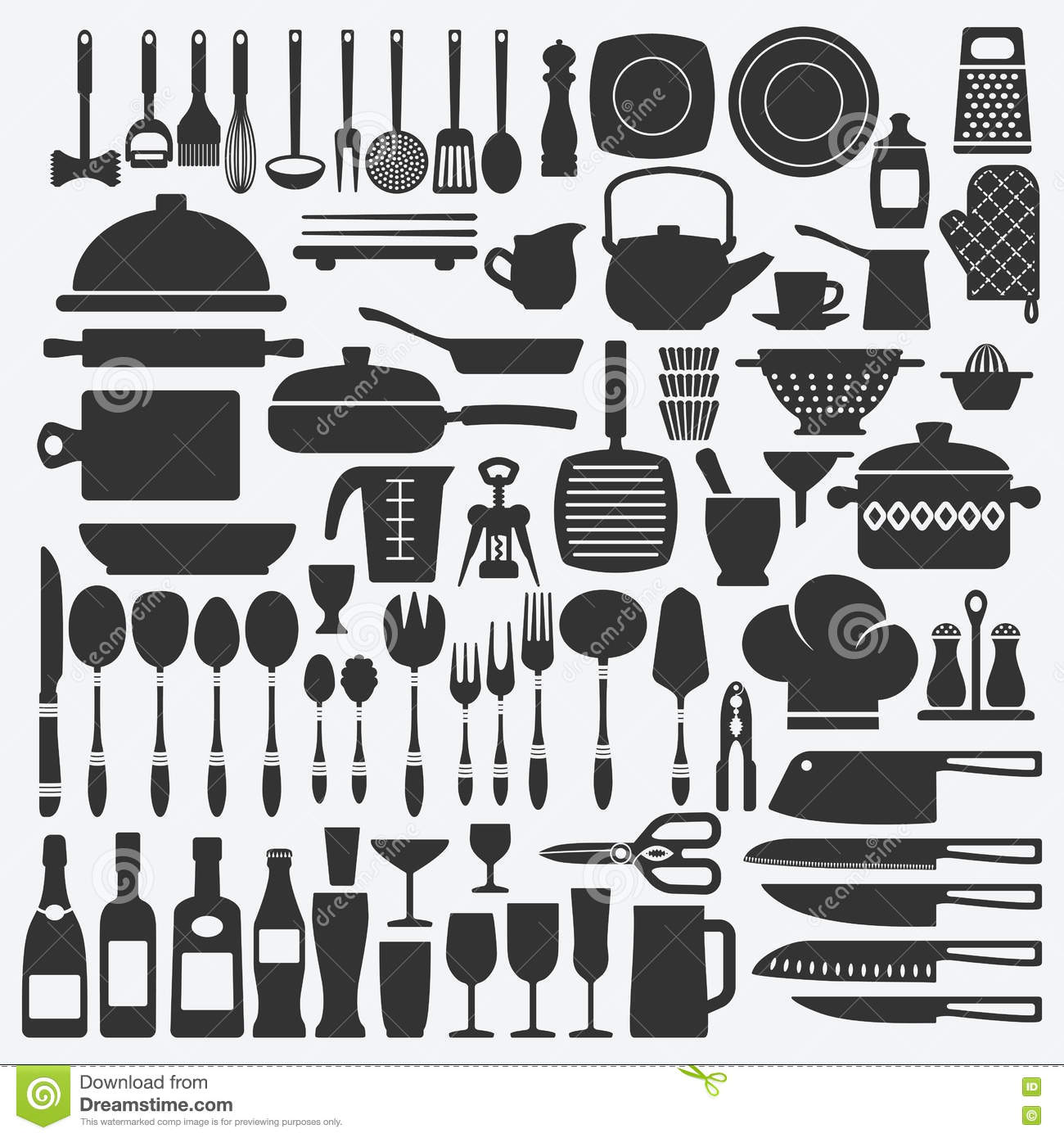 Cookware kitchen set stock vector illustration of cutlery for Kitchen set vector