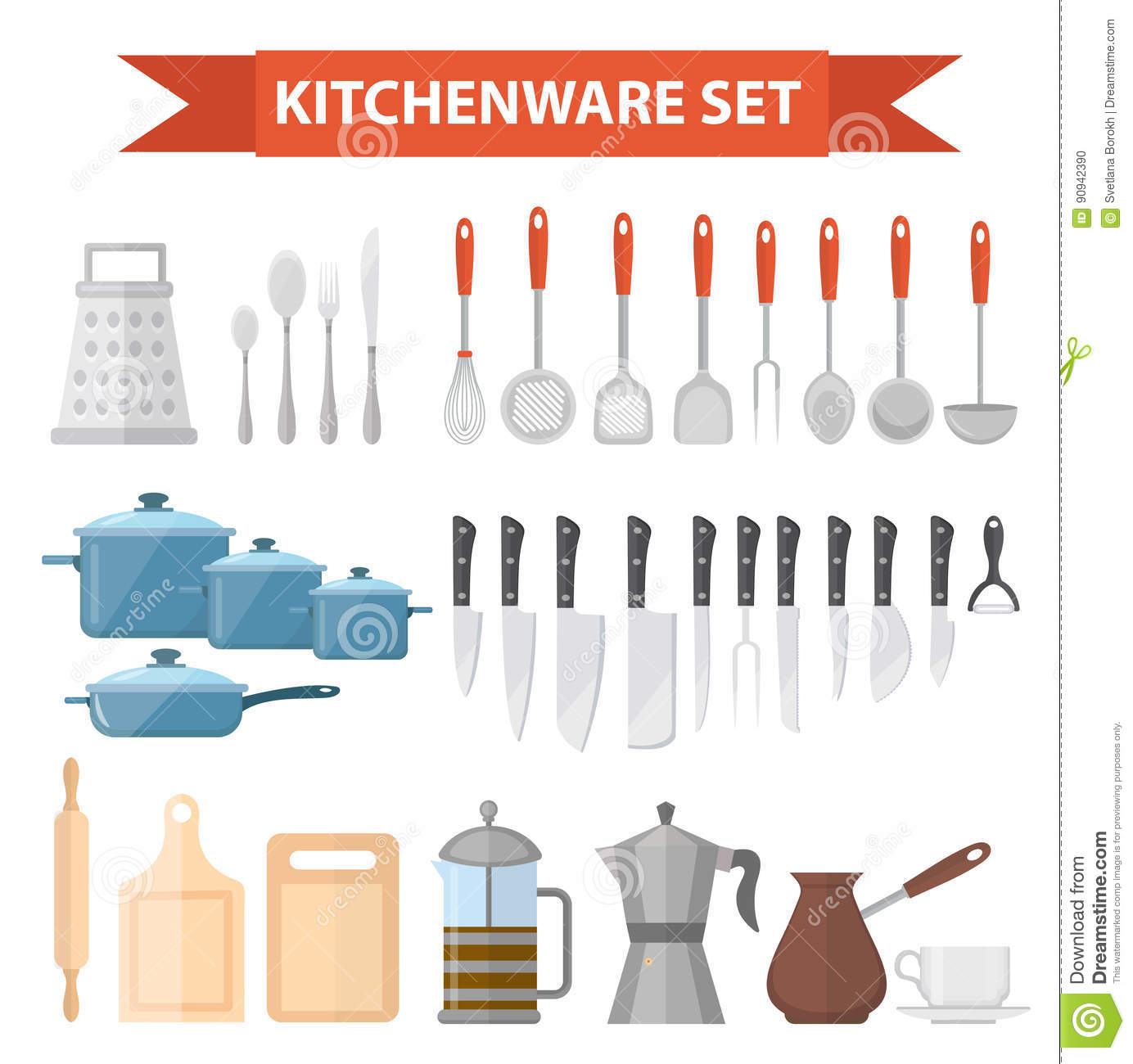 Cookware Set Icons, Flat Style. Kitchen Utensils Set Isolated On ...