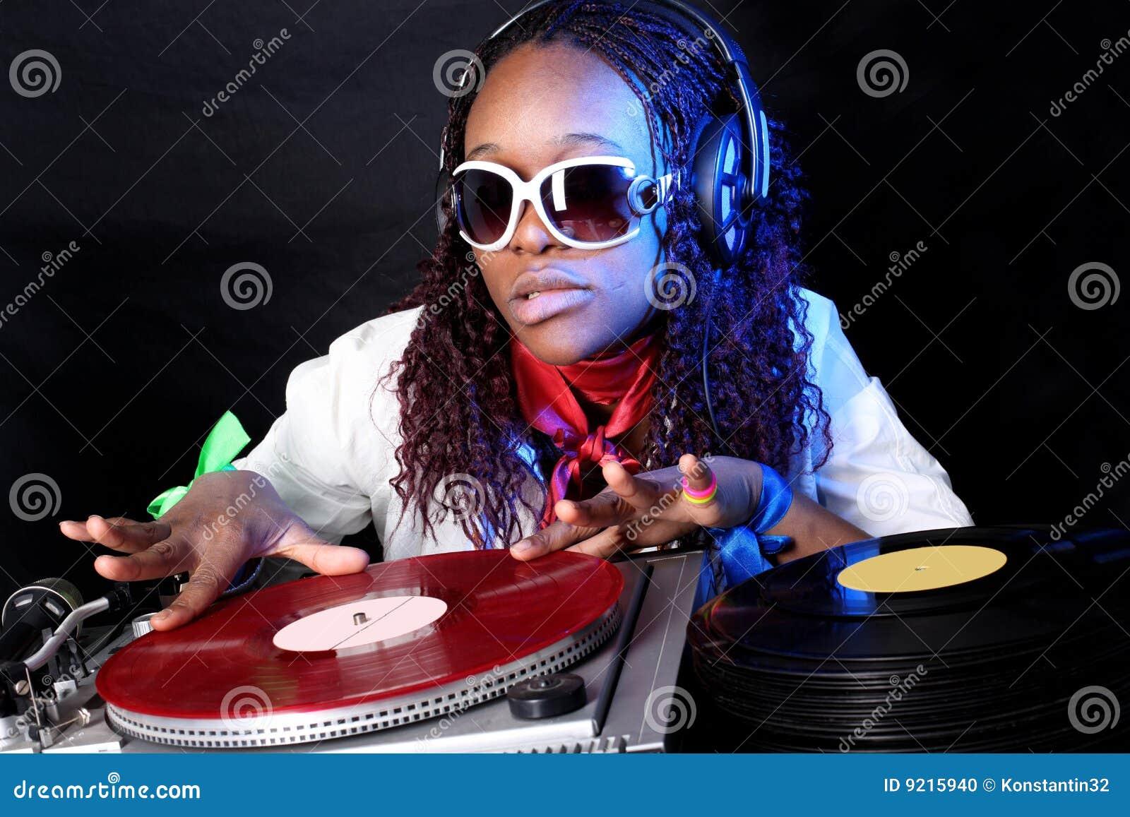 Cool Afro American Dj Stock Photo Image 9215940