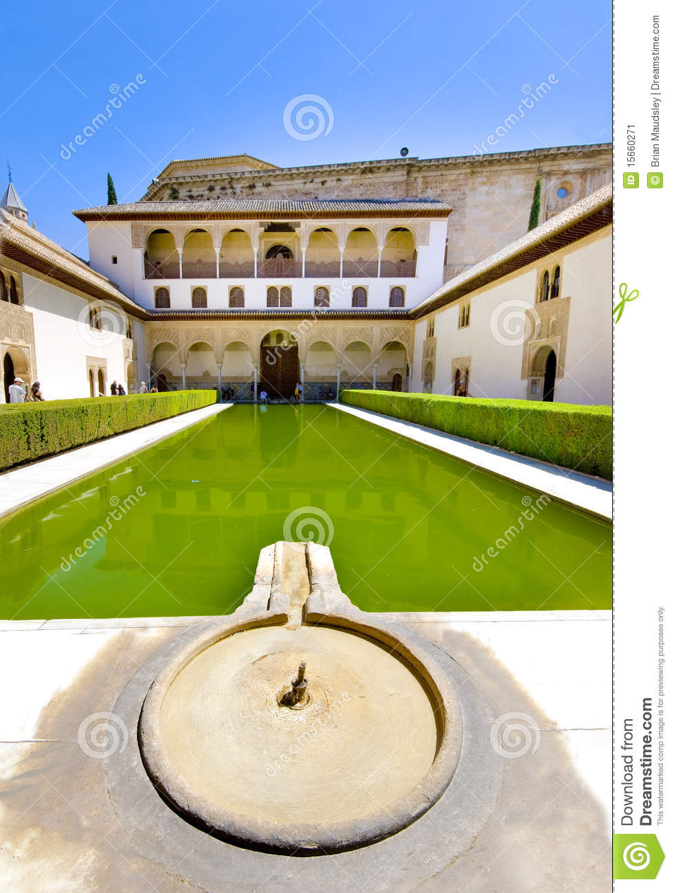A cool Alhambra Palace fountain and pool. geanada.