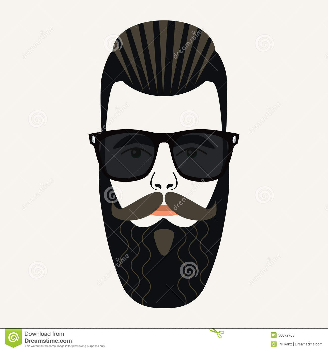 Cool Beard Hipster Male With Black Lenses Sunglasses Stock ...