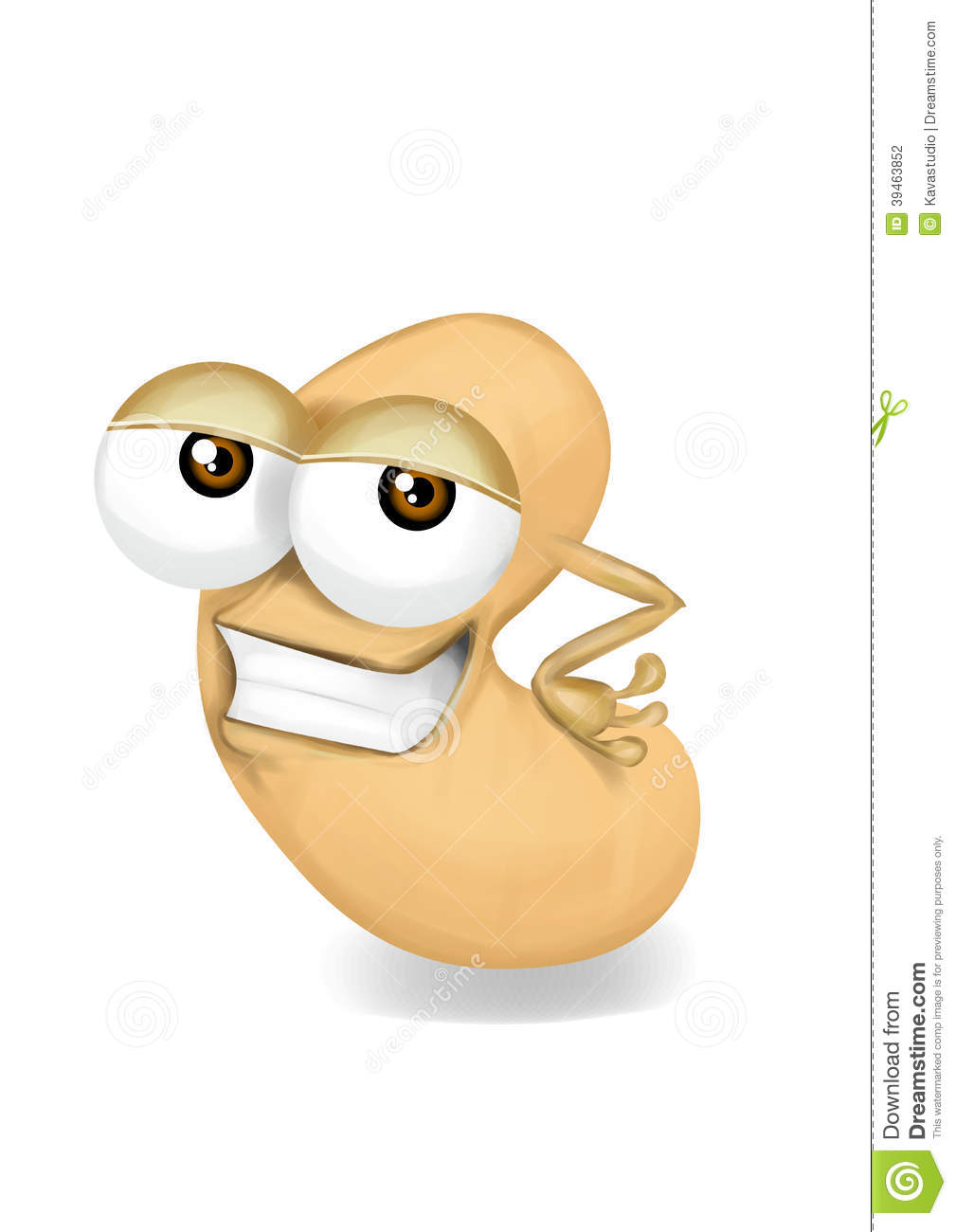 cool beige cashew cartoon character sly eyes stock
