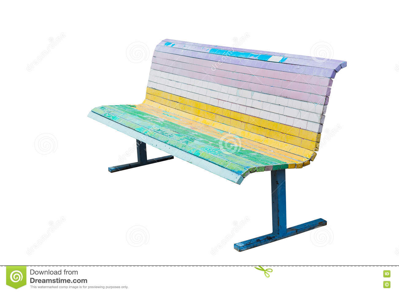 Cool Bench painted in the colors of the rainbow.