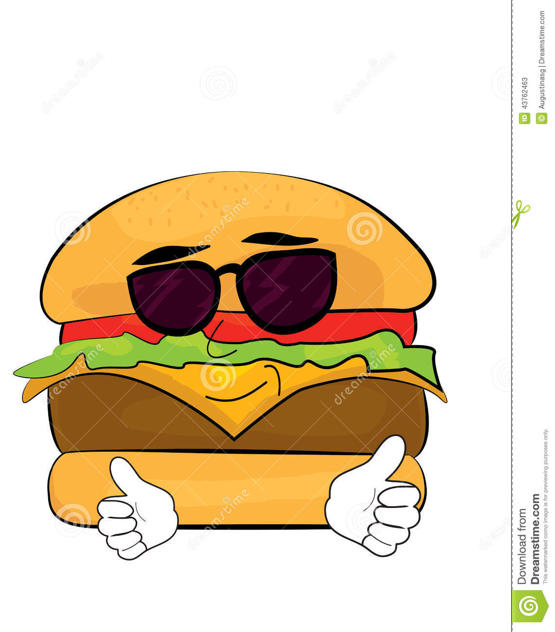 Vector illustration of cool burger cartoon.