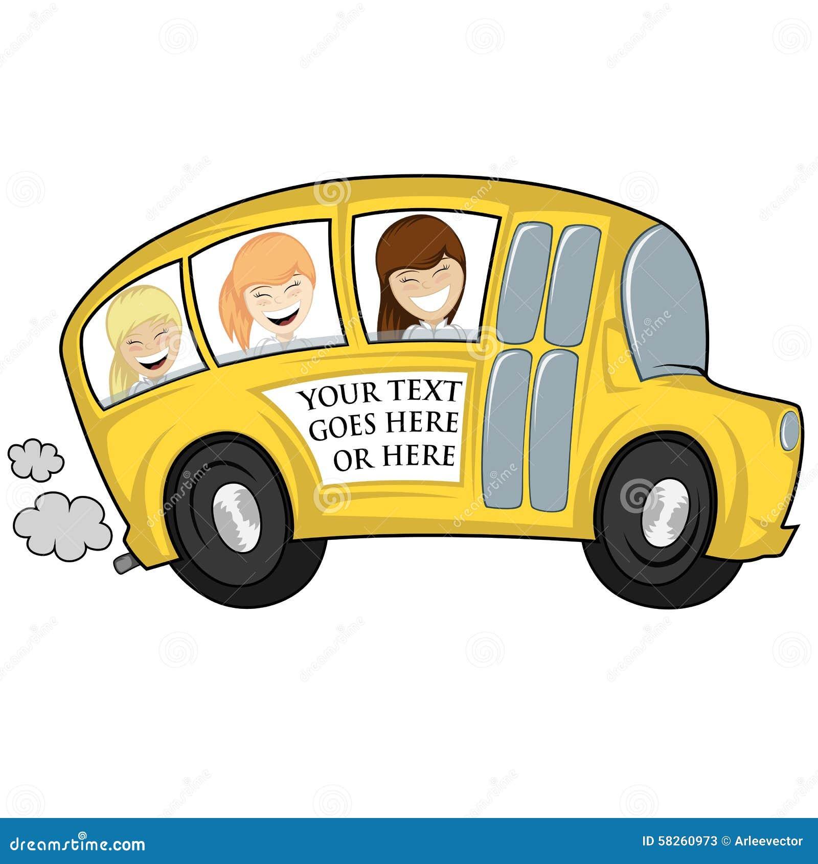 Cartoon School Bus Looking Out Window