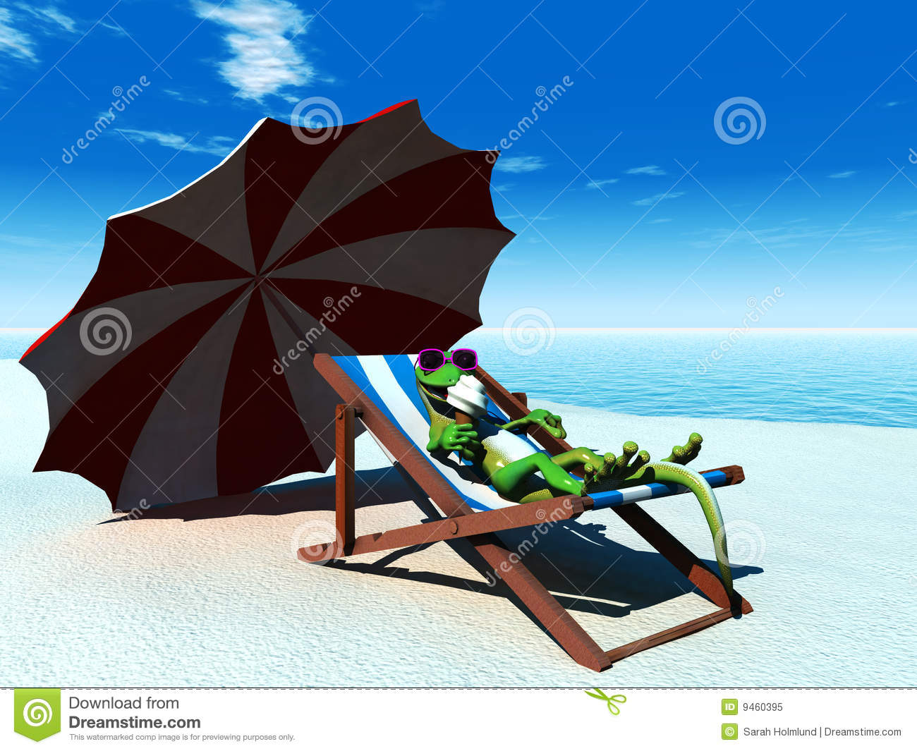 Cartoon Dog Relaxing In Deckchair Royalty Free Stock Image