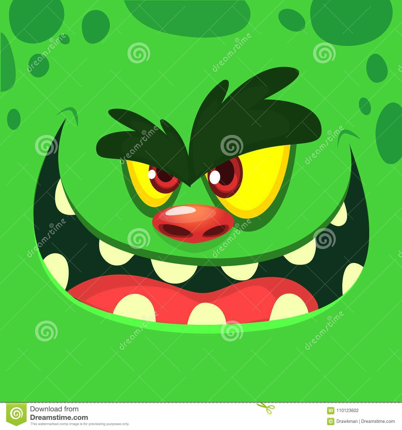 Cool Cartoon Green Monster Face. Vector Halloween illustration of excited zombie monster with wide smile.