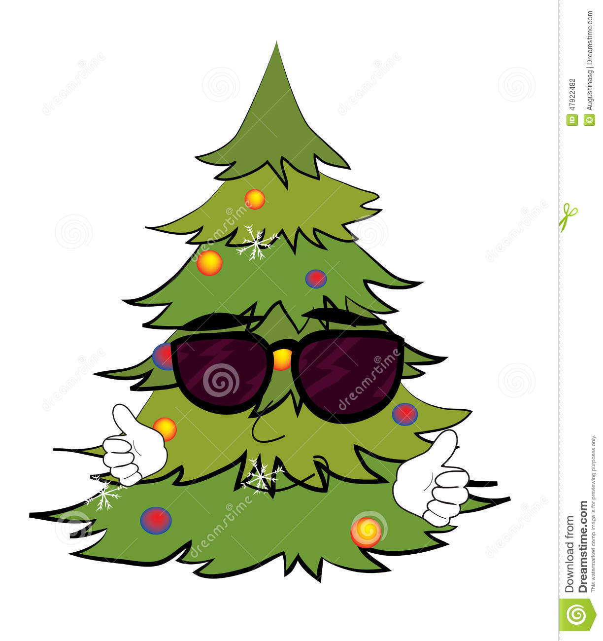 Cool Christmas Trees.Cool Christmas Tree Cartoon Stock Illustration