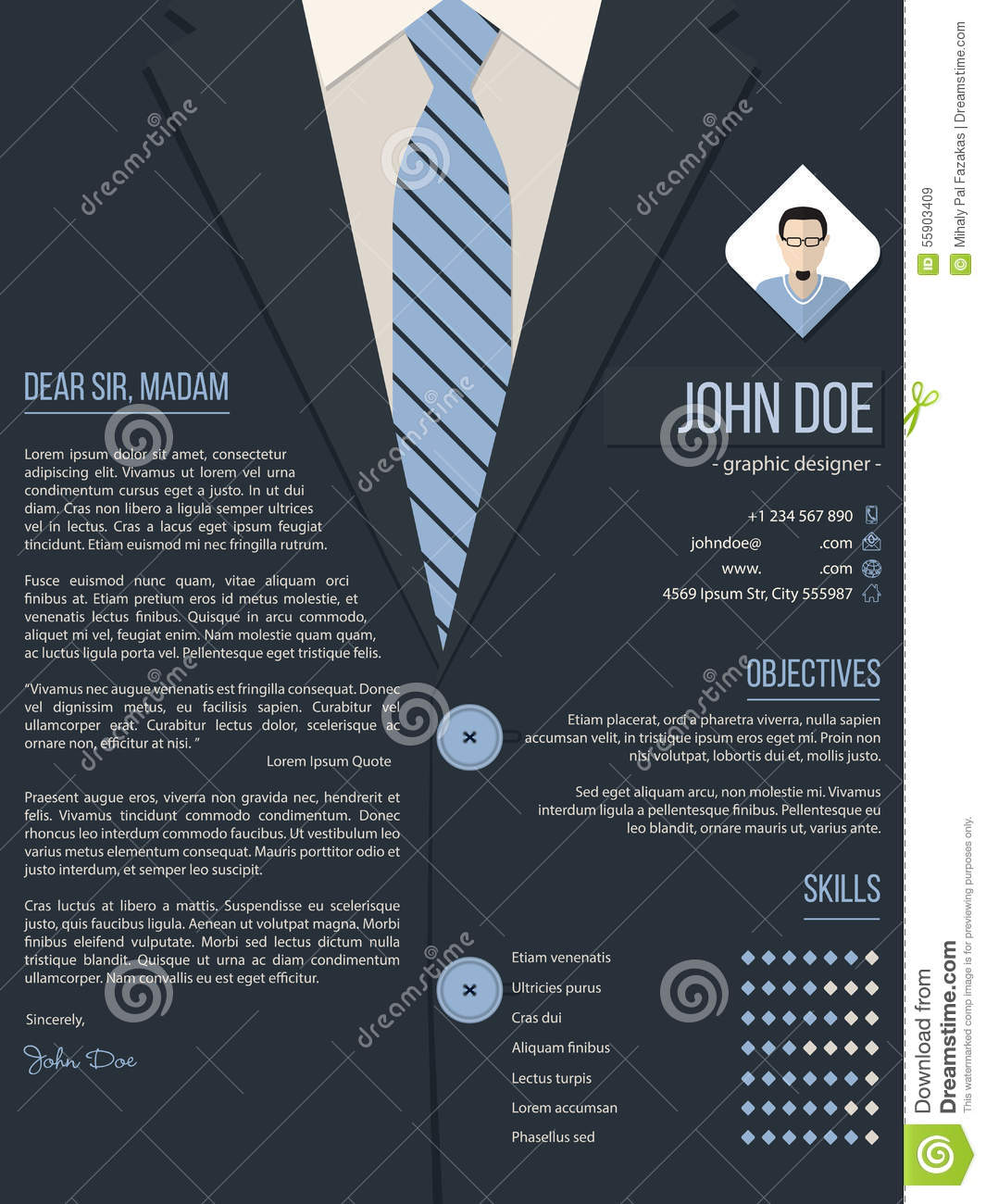cool cover letter resume template with business suit background stock vector