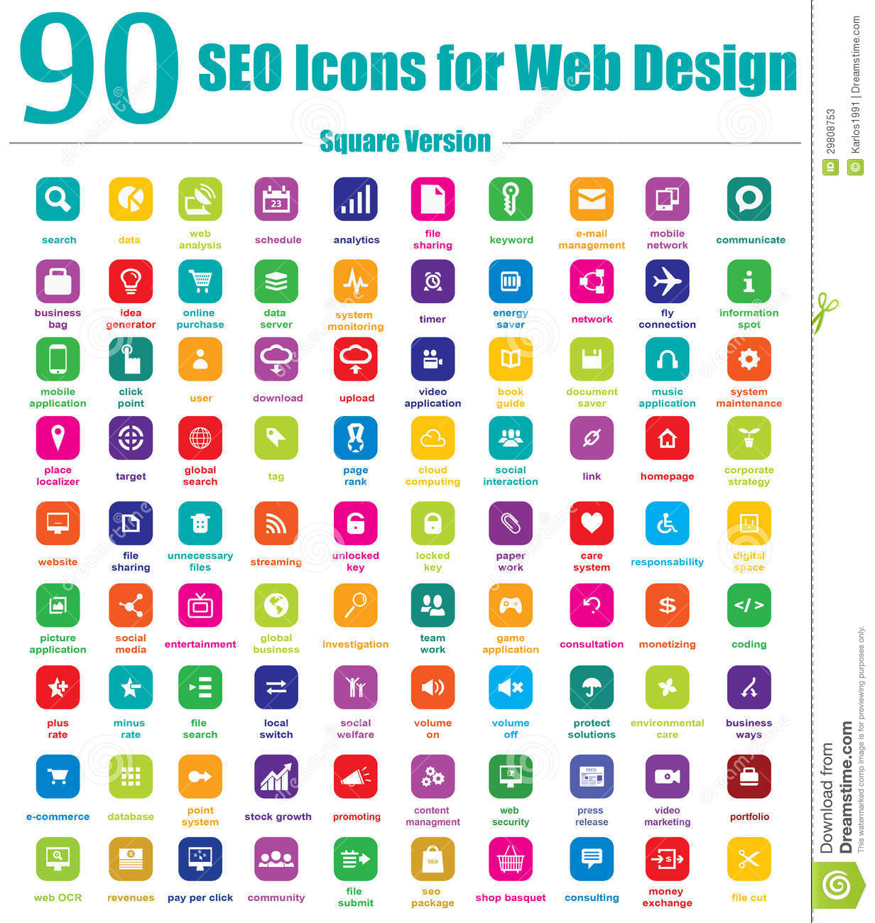 Download 90 SEO Icons For Web Design - Square Version Stock Vector - Illustration of apps, media: 29808753
