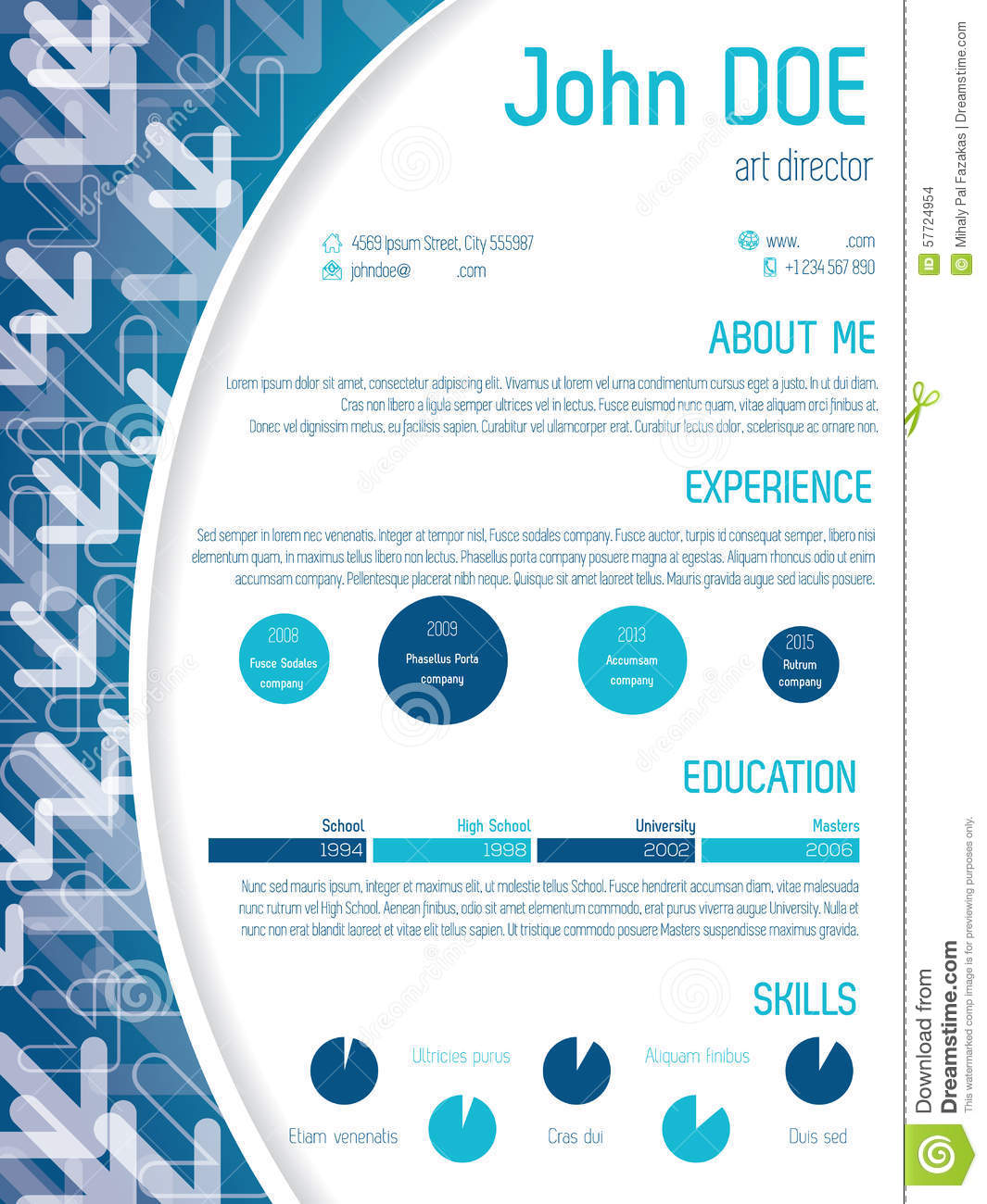 Cool Cv Template Design With Arrows Stock Illustration