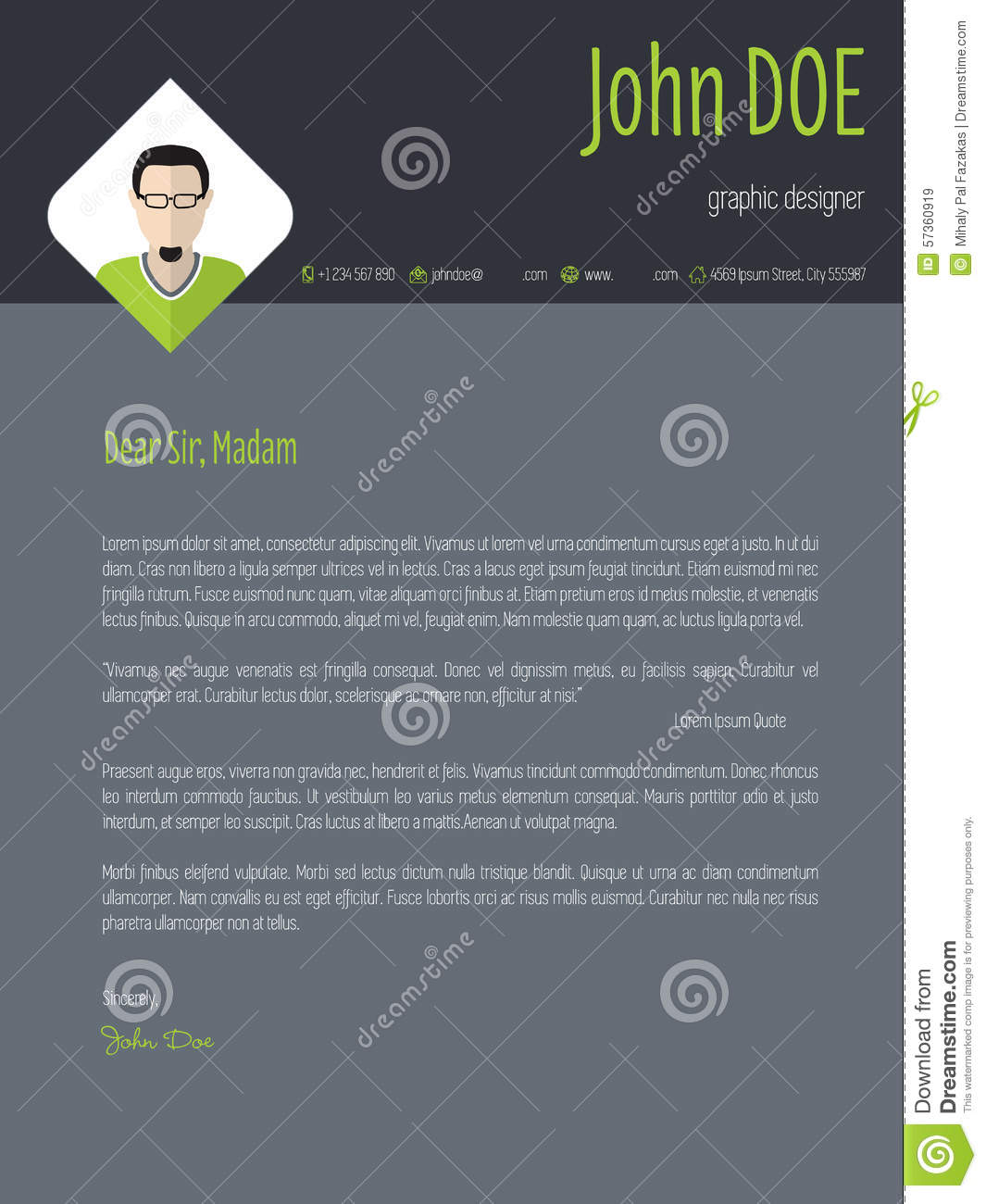 cool dark resume cover letter cv template stock