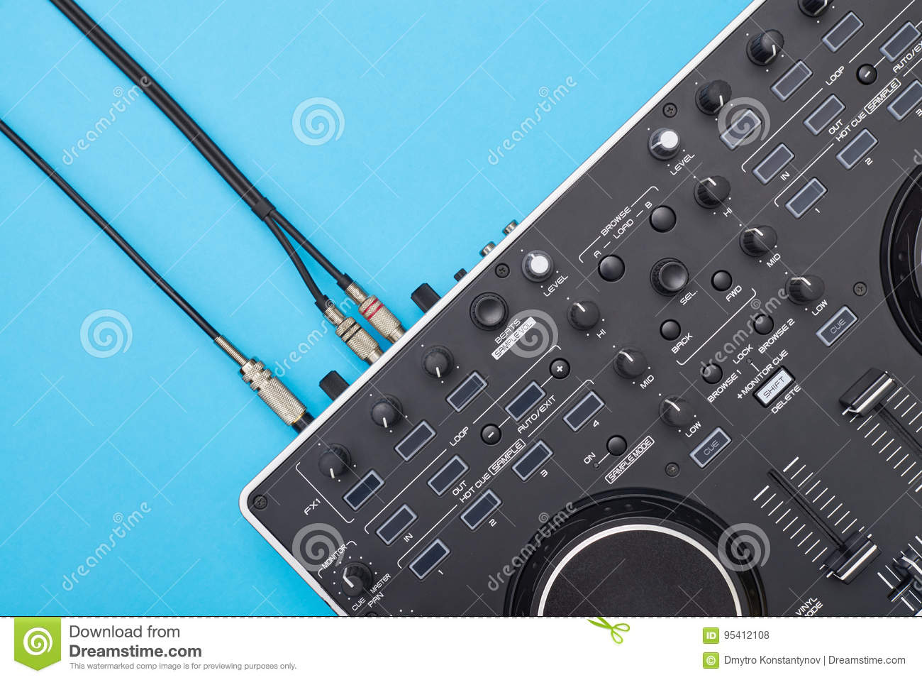 Cool DJ panel on blue background