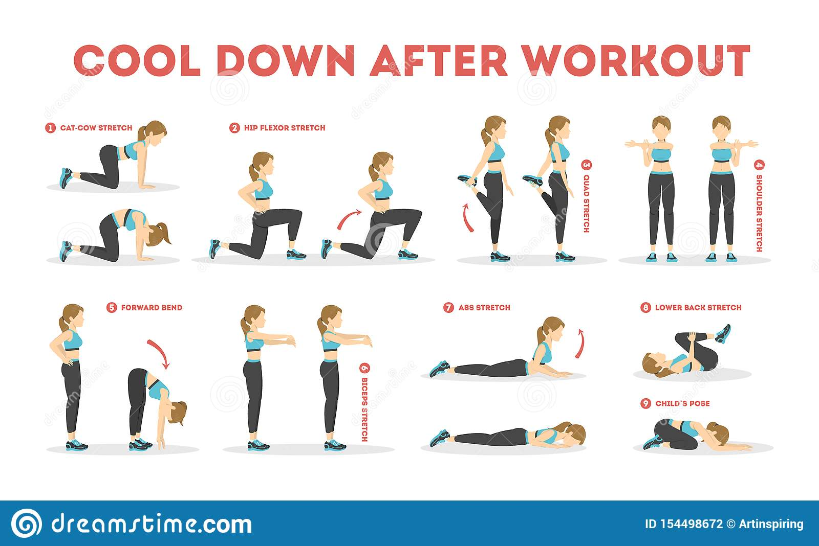 Warm-Up Cool-Down Exercise Gym Poster Fitness Training Stretching Health Chart