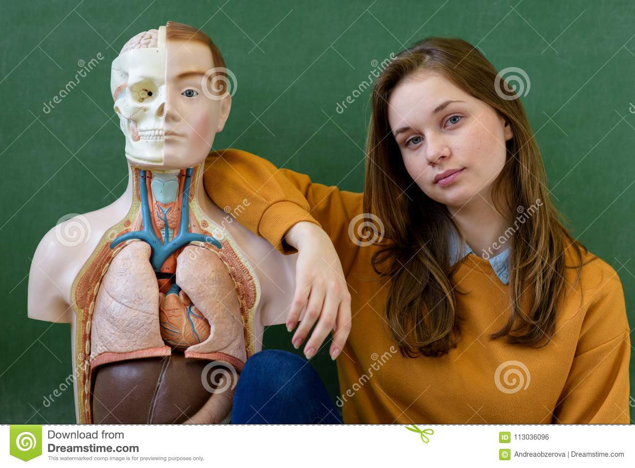 Cool Female High School Student Portrait With An Artificial Human