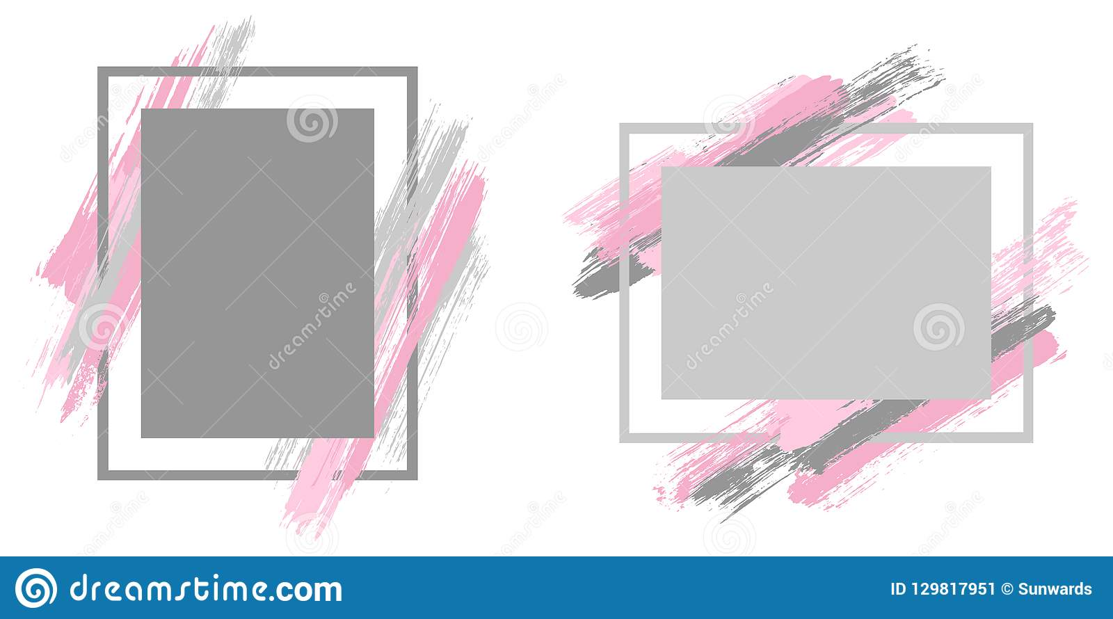d3d24eedc84 Cool Frames With Paint Brush Strokes Vector Set. Stock Vector ...