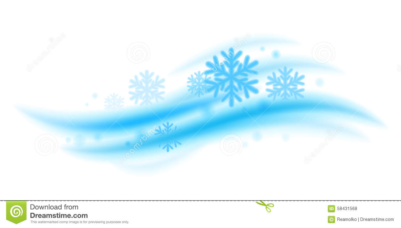 Cool Fresh Mint Wave With Snowflakes Vector Stock Vector