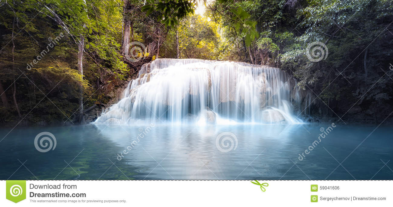 Cool Fresh Water Pond In Forest With Smooth And Silky